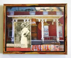 "In Her White Hat  (Framed in Recycled Wood)  9.75""h x 12.5""w x 2.75""d  Mixed Media with found photo"