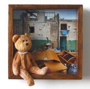 Harrison the Bear (from the Toyology series) 11.5''h x 11.5''w x 2.75''d Mixed Media Assemblage