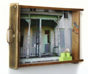 The Green Porch (from the TOYOLOGY series) 10.375''hx 14.875''w x 2.25''d Mixed Media Assemblage