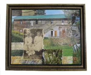 "In the Southern Tier  (Framed in Recycled Wood)  9.5""h x 11.5""w x 2""d  Mixed Media with found photo"