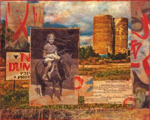 "Riding on Chandler Street  8""h x 9.75""w  Mixed Media with Photos and Found Object"