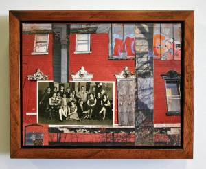 "Party House (Framed in Recycled Wood)  9.5""h x 11.5""w x 2""d  Mixed Media with found photo"