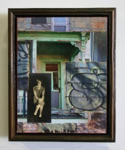 "Silk Stockings  (Framed in Recycled Wood)  12.25""h x 19.5""w x 2.75""d  Mixed Media with found photo"