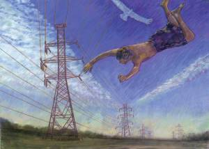 Icarus and the Niagara Power Authority,  Charcoal and Pastel on Fabriano Paper