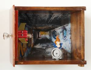 Jimmy Newtron (from the TOYOLOGY series) 9.75''h x 13.25''w x 7.75''d Mixed Media Assemblage