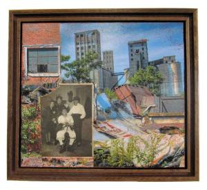 "The Fantastic Four  (Framed in Recycled Wood)  9.5""h x 11.5""w x 2""d  Mixed Media with found photo"