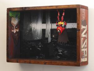 Batman vs. The Joker (from the TOYOLOGY series) 12.75''h x 18.5''w 4.5''d Mixed Media Assemblage