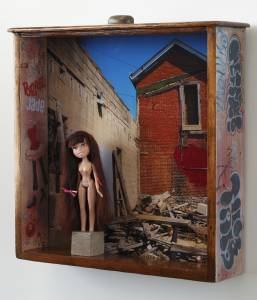 Jade-Bratz (from the TOYOLOGY series) 20.75''h x 20.5''w x 4.75''d Mixed Media Assemblage