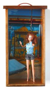 Barbie (from the TOYOLOGY series) 23''h x 9.25''w x 5.75''d Mixed Media Assemblage