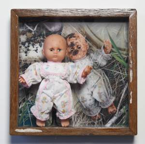 Baby Doll (from the TOYOLOGY series) 14.25''h x 14.25''w x 3.875''d Mixed Media Assemblage