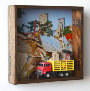 Truckfull (from the TOYOLOGY series) 14.25''h x 14.25''w x 3.875''d Mixed Media Assemblage