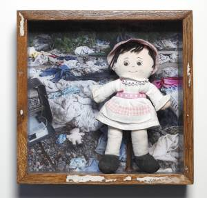 Carter Doll (from the TOYOLOGY series) 12.5''h x 12.625''w x 2.125''d Mixed Media Assemblage