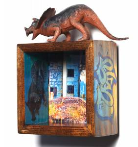 Triceratops (from the TOYOLOGY series) 19.75''h x 7.625''w x 4.75''d Mixed Media Assemblage