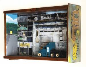 We Repair Trucks (from the TOYOLOGY series) 11.875''h x 20.375''w x 5.25''d Mixed Media Assemblage